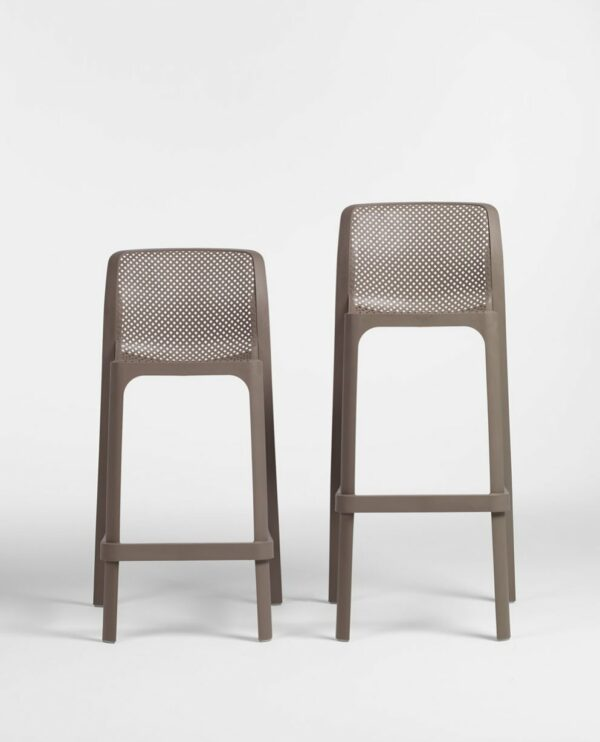 NARDI Net Kitchen Counter Stool and Net Stool (Commercial Height) Side by Side in Taupe