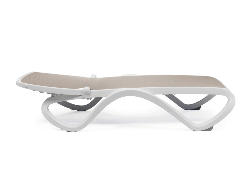 Omega Sun Lounger (White & Taupe) Lay Flat