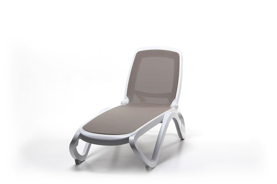Omega Sun Lounger (White & Taupe) Showroom View