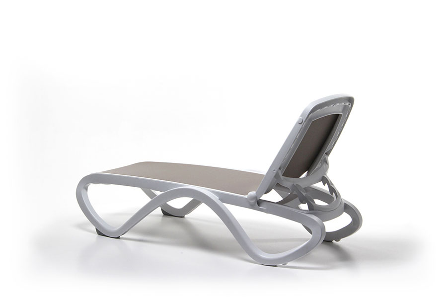 Omega Sun Lounger (White & Taupe) View from rear