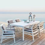 Aria Rio 7 Piece Outdoor Dining Setting – White & Grey