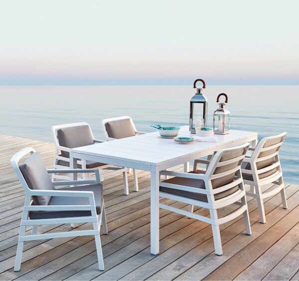 The Aria Rio 7 Piece Outdoor Dining Setting in White (Chairs with Grey Cushions)
