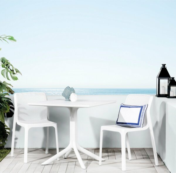 The Bit Clip 3 Piece Bistro Set in White Pictured on Deck with a View