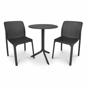 The Bit Step 3-Piece Bistro Set in Charcoal