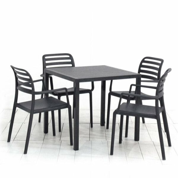 The Cube Costa Armchair 5-Piece Outdoor Set in Charcoal