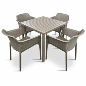 The Cube Net 5 Piece Patio Set in Taupe