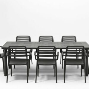 The Levante Costa 9 Piece Dining Set in Charcoal