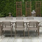Levante Costa 9 Piece Dining Set in Taupe on Patio