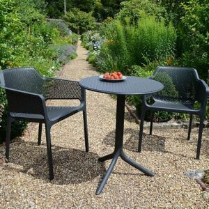 The Net Step 3-Piece Patio Set in Charcoal in Garden