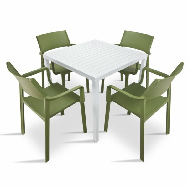 The Trill Cube 5 Piece Patio Set in Olive Green & White