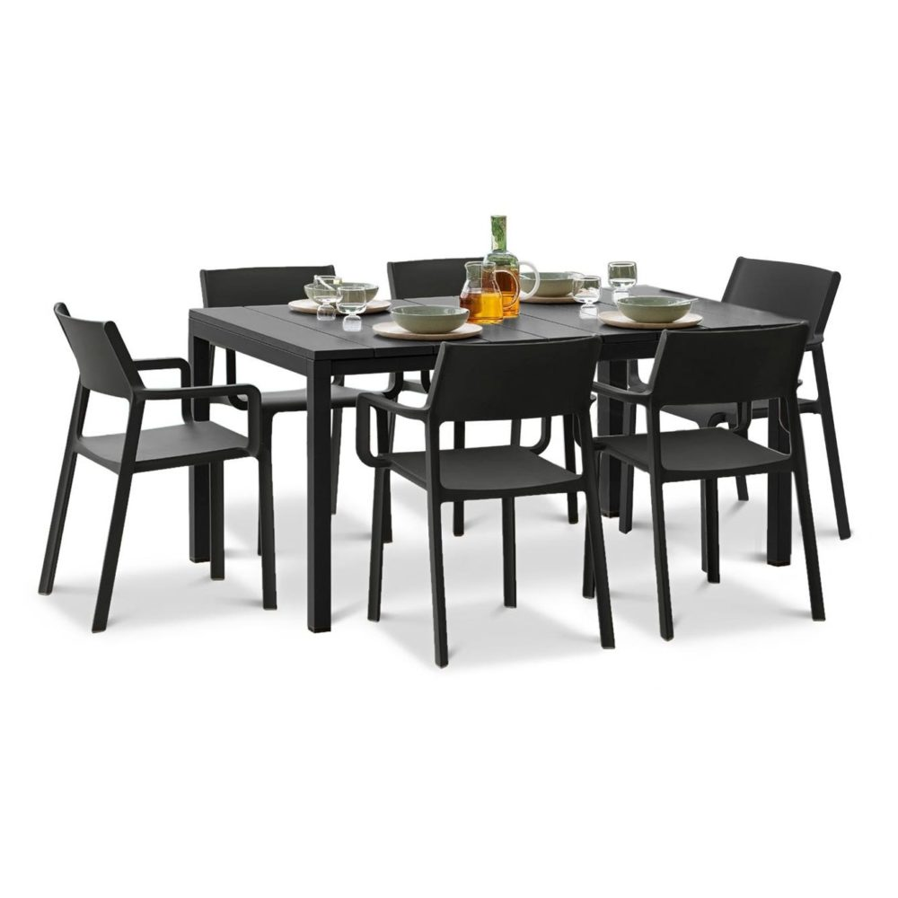 Trill Rio 7 Piece Dining Set – Charcoal