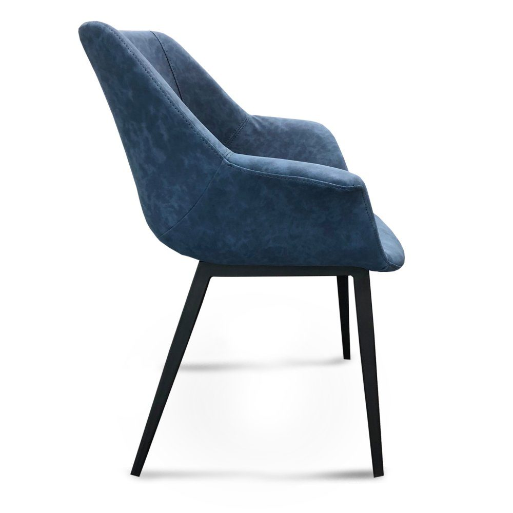 Mendoza Dining Chair – Blue (Profile View)