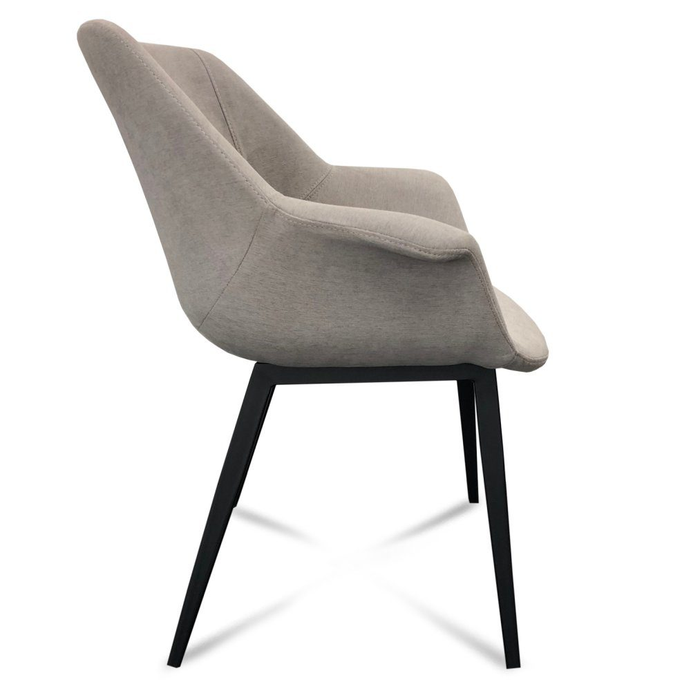 Mendoza Dining Chair – Light Grey (Profile View)
