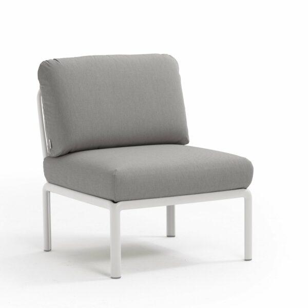 Komodo Outdoor Modular Sectional Sofa Central Piece - White & Grey Cushions