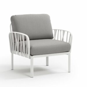 Outdoor Arm Chair - Komodo White Frame & Grey Cushions