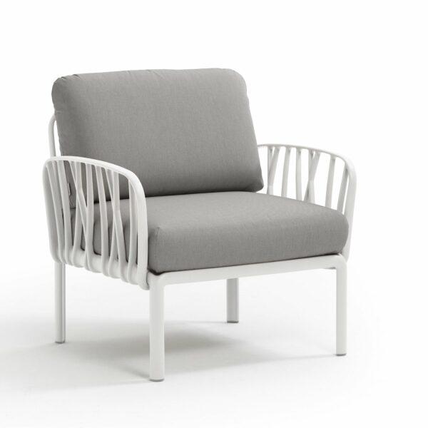 Outdoor Arm Chair - Komodo White Frame & Grey Cushions