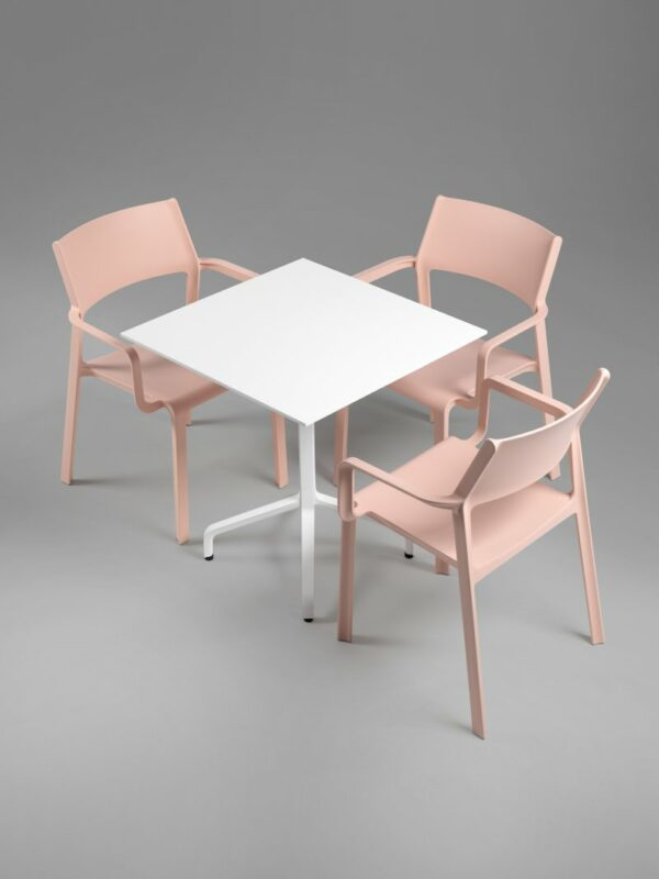 Frasca Mini Folding Table Base with Trill Arm Chairs