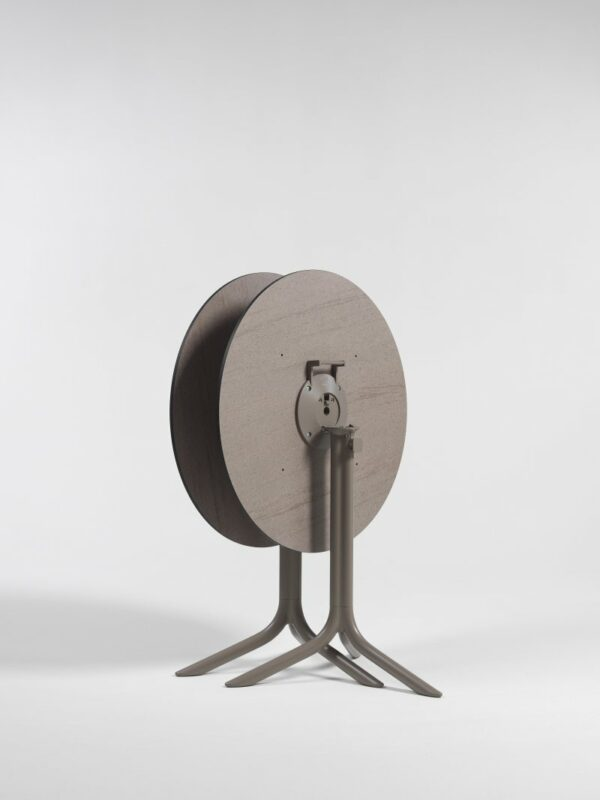 Horizotnally Stacked Flute Folding Table Bases in Taupe