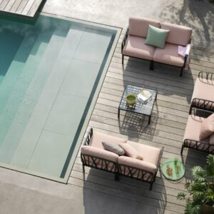 Outdoor Lounge Furniture - Komodo 7-Piece in Charcoal & Rosa