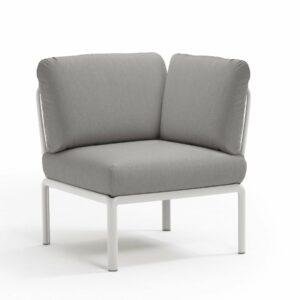 Komodo Modular Outdoor Sofa Angled Corner Piece - White Frame & Grey Cushions
