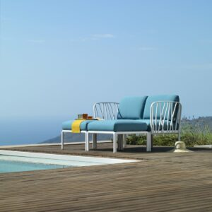Outdoor Daybed - Komodo in White & Adriatic Teal Cushions