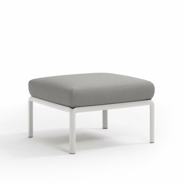 Komodo Outdoor Pouf - White Frame & Grey Cushions