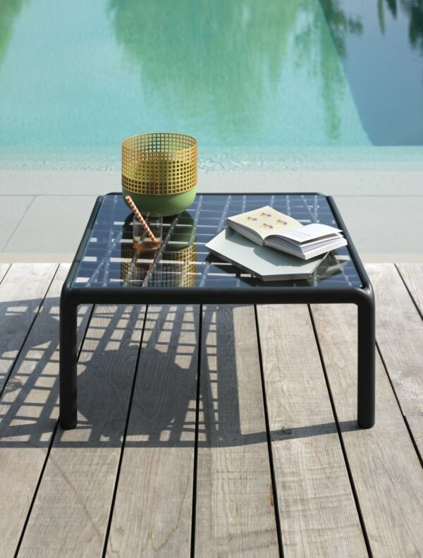 Outdoor Coffee Table - Komodo Glass on Deck next to Pool