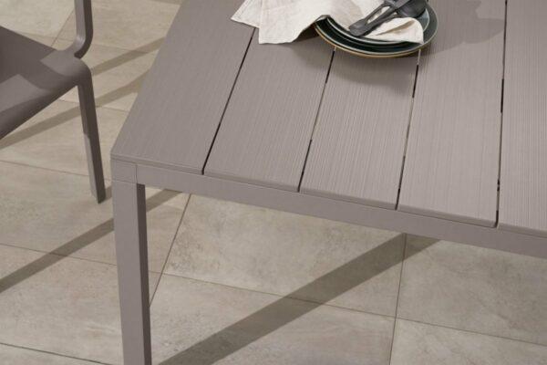 NARDI Rio ALU 140-210 Extendable Table in Taupe (Aluminium Table Top Texture)
