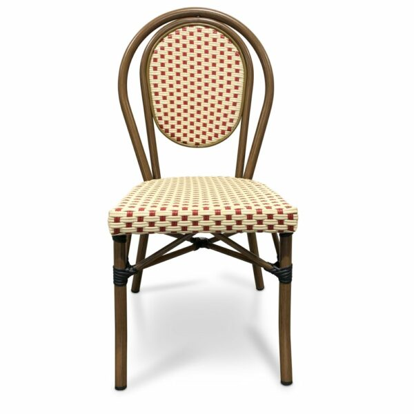 Lyon French Café Chair - Red & Cream (Front View)