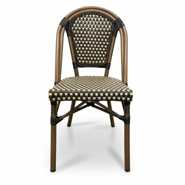 Parisian Bistro Chair - Brown & Cream (Front View)