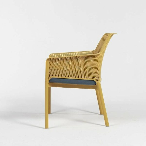 NARDI Net Relax Lounge Chair with Mustard and Denim Cushions (Profile View)