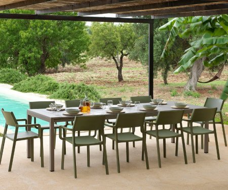 10-Seater Outdoor Dining Sets NZ - Trill Rio 11-Piece Table and Chairs (Taupe Table & Olive Green Chairs)