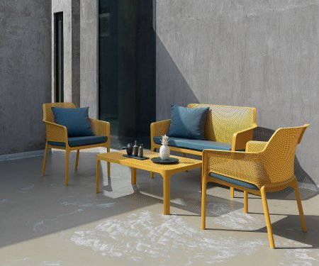 4-Seater Outdoor Furniture Sets NZ - Net 4-Piece Lounge Set in Mustard