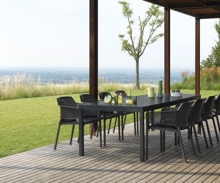 8-Seater Outdoor Furniture Sets NZ - Rio Net 9-Piece Outdoor Dining Set in Charcoal