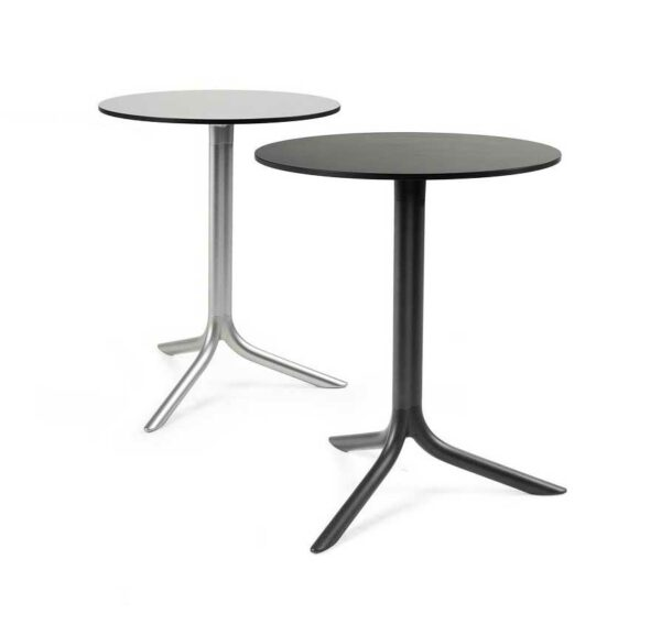 NARDI Break Table Bases with HPL Tops in Silver and Charcoal