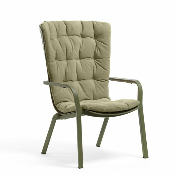 NARDI Folio Cushioned Deck Chair - Olive Green & Fern Green Cushion