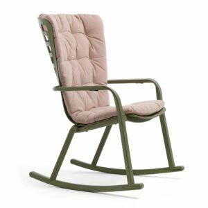 NARDI Folio Cushioned Rocking Chair - Olive Green and Rosa Pink Cushion