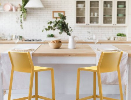 Kitchen Counter Bar Stools - Trill Stools in Mustard at kitchen bench