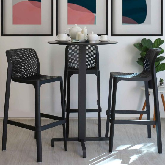 Net Bar Stools and Fiore Bar Leaner Indoors