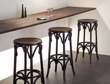 Wooden Bar Stools - Backless Bentwood Stools in Walnut
