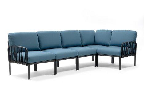 Komodo 5 Modular Outdoor Sofa NZ Charcoal Adriatic Teal Cushions