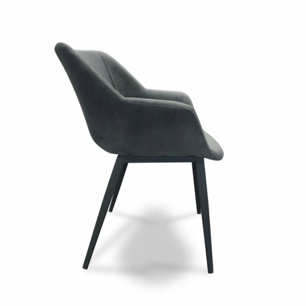 ByDezign Mendoza Plush Dining Chair - Charcoal (Profile View)