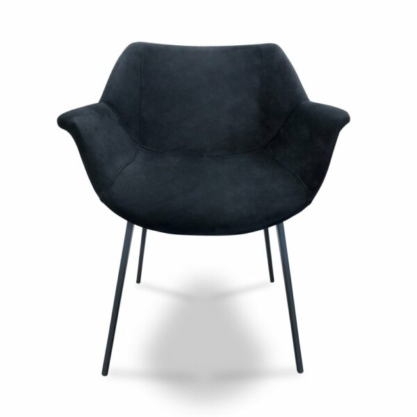 ByDezign Mendoza Plush Dining Chair - Jet (Front View)