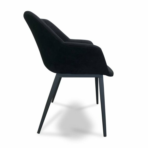ByDezign Mendoza Plush Dining Chair - Jet (Profile View)