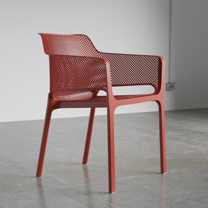 Outdoor Chairs NZ - Net Outdoor Armchair in Coral Red