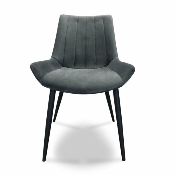 ByDezign Palermo Plush Dining Chair - Charcoal (Front View)
