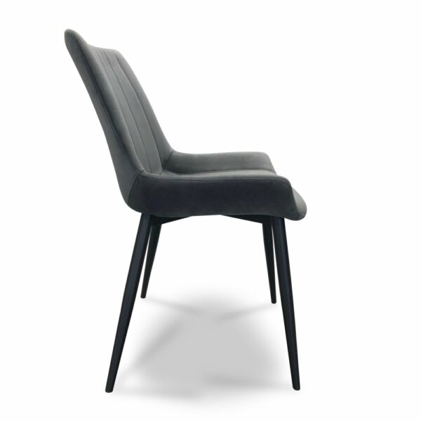 ByDezign Palermo Plush Dining Chair - Charcoal (Profile View)