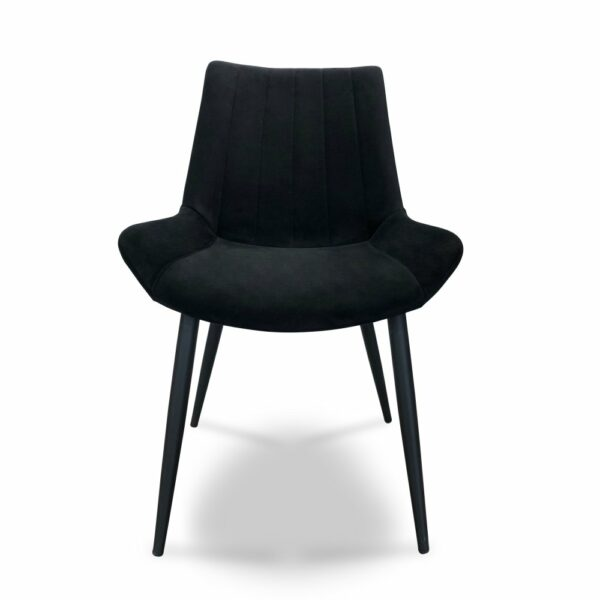 ByDezign Palermo Plush Dining Chair - Jet (Front View)