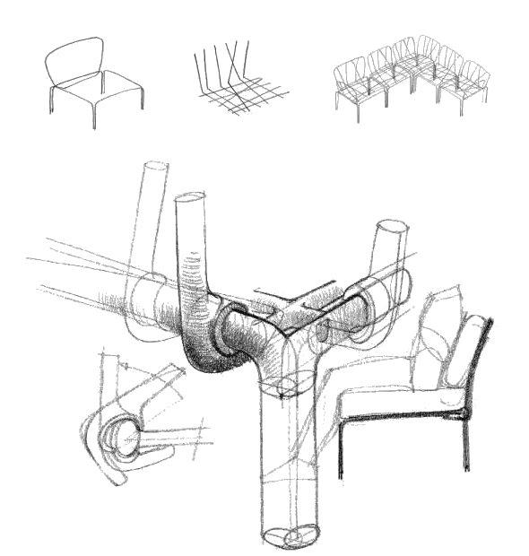 komodo 5 designer outdoor sofa sketches concept