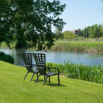 NARDI Folio Deck Chairs in Charcoal overlooking river